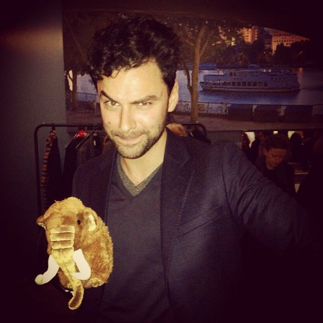 ‪#‎AidanTurner‬ with the @mammothscreen mascot. Love it!  Via Mammoth Screen on Instagram