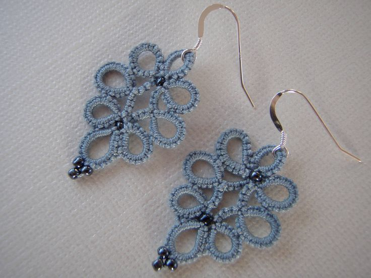 Dangle Drop Earring Wedgewood Blue Glass Seed Beads Tatting Jewellery by tattingblackkitty on Etsy