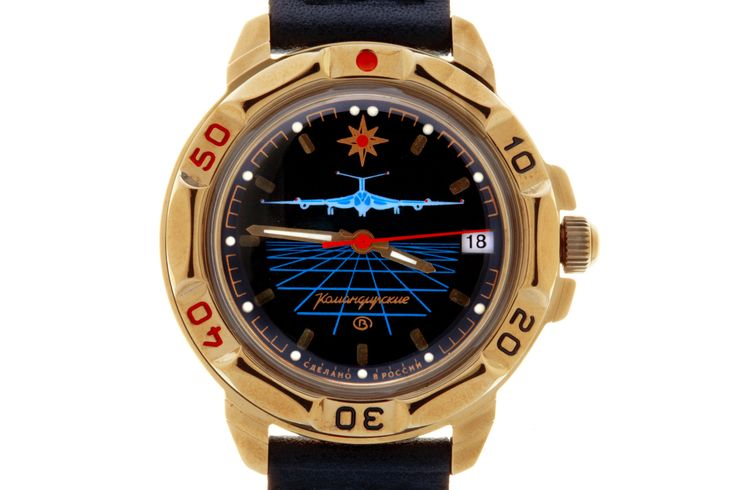 """VOSTOK KOMANDIRSKIE 439499 LONG RANGE AVIATION. In the upper part of the black watch face, at the twelve o'clock mark, there is an eight-pointed windrose – the symbol of determination in achieving the goals and the saving Star of Hope for a better future. Over the axis of the hands there is a front silhouette of the flying strategic missile carrier Tu-160 """"White Swan"""" (NATO reporting name is """"Blackjack""""). #russian #mechanical #military #watches #vostok #komandirskie #gifts #souvenirs…"""