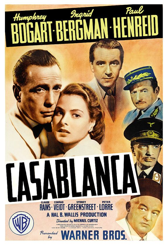 Humphrey Bogart  Casablanca  Home Theater Decor  by jangoArts, $19.50