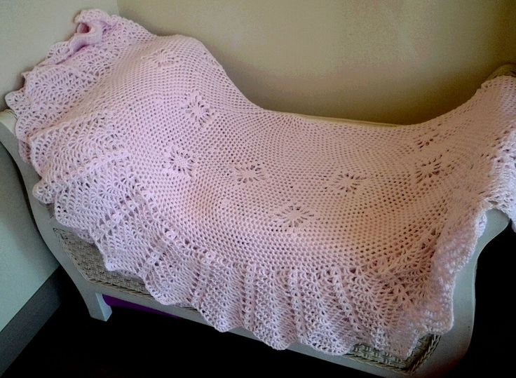 Pink Circular Crocheted Baby Blanket or heirloom shawl. by frillydaisy on Etsy