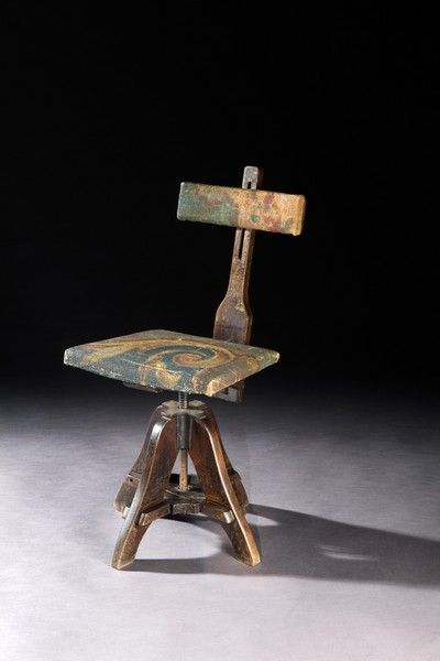 Robert Young Antiques - Collection. Unusual Revolving Artist's Chair #FolkArt