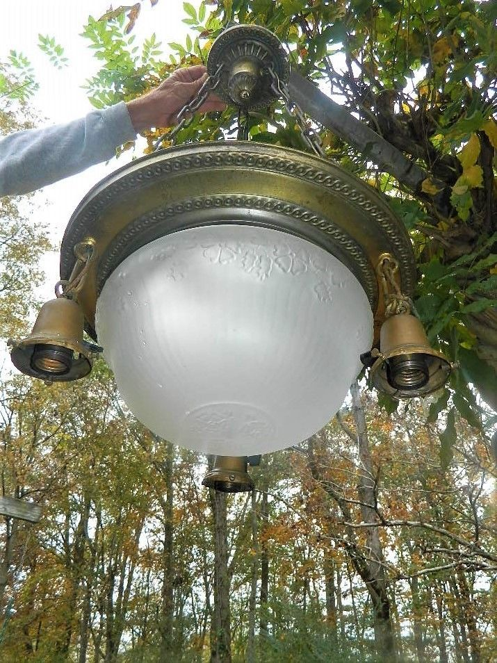 ANTIQUE CEILING LIGHT FIXTURE PENDANT EARLY 1900'S HANGING 4 BULB BRASS COPPER #Unknown