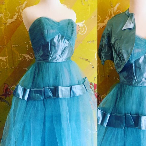 Blue Dress Fred Perlberg Aqua Blue Dress with by OliveOilVintage