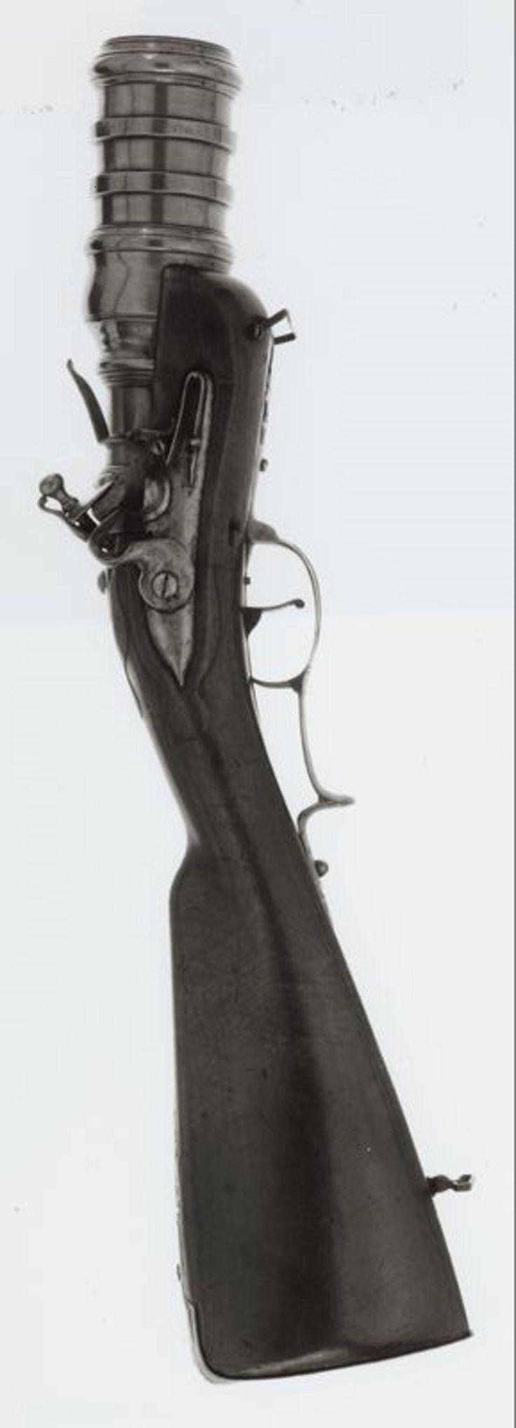 "Flintlock ""Hand Mortar"" Gun, 1740  Steel, brass, iron, walnut"