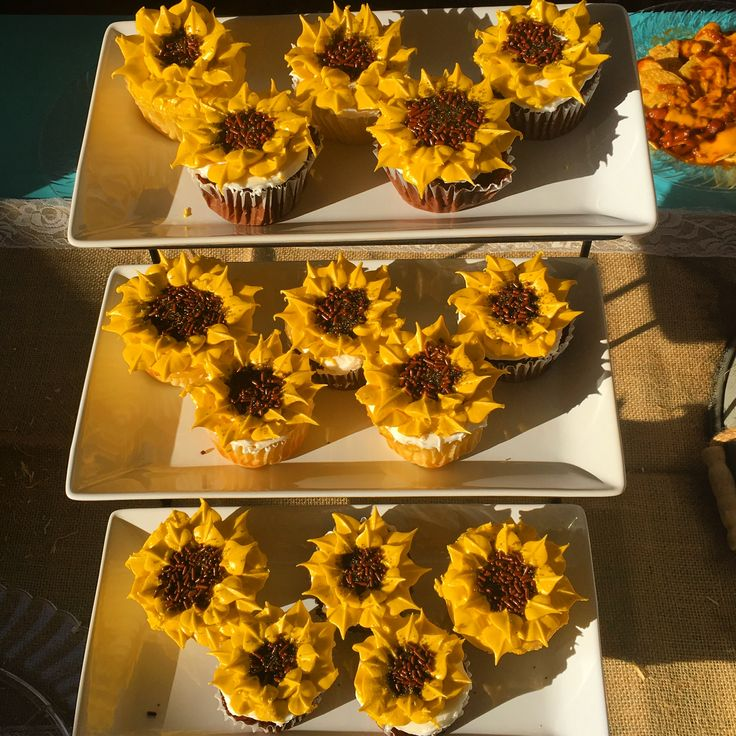 Sun flower cupcakes diy bridal shower decor cowgirl country themed