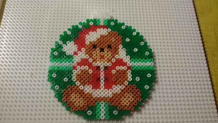 Teddy Christmas ornament hama perler beads by Susanne Damgård Sørensen