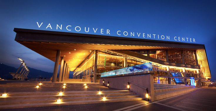 Vancouver Convention Center with forward-throw uplighting mounted at the window mullions.