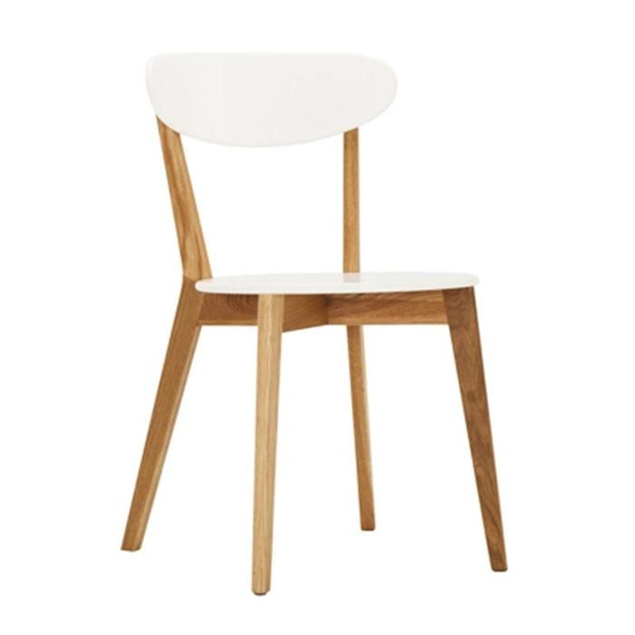 Tate Dining Chair In Oak And White