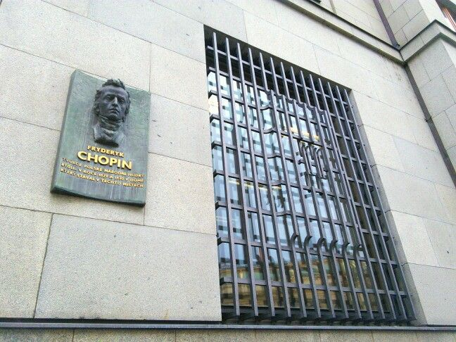 """""""Fryderyk Chopin, creator of Polish national music, lived in the building that stood on this spot in 1829 and 1830."""" [Czech]"""