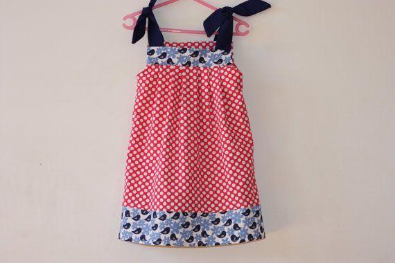 Toddler dress  Size 3  Dark Pink Spots with by RainbowSparklesBlue