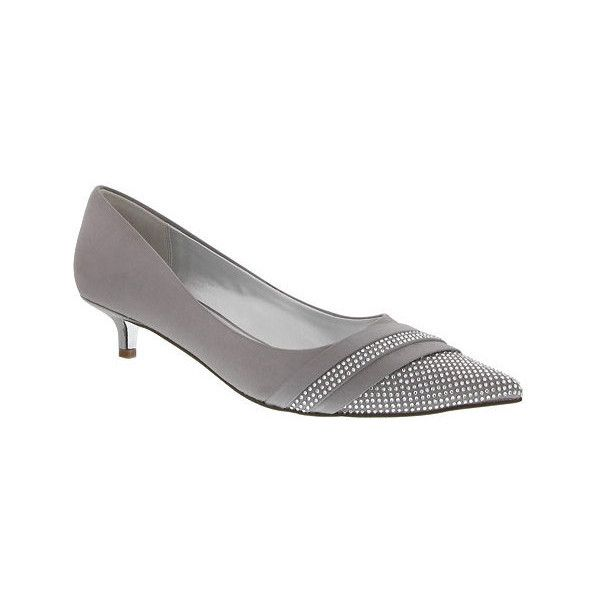 Women's Nina Emmie ($25) ❤ liked on Polyvore featuring shoes, pumps, dresses, heels, silver, kitten heel shoes, pointed-toe pumps, kitten heel pumps, nina shoes and heel pump