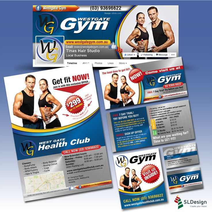 Branding work involving online and offline projects for Westgate Gym, from business cards to outdoor advertising. Get your Facebook plan now - available on http://slfolio.com/social-media/   #fitness #socialmediamarketing #branding