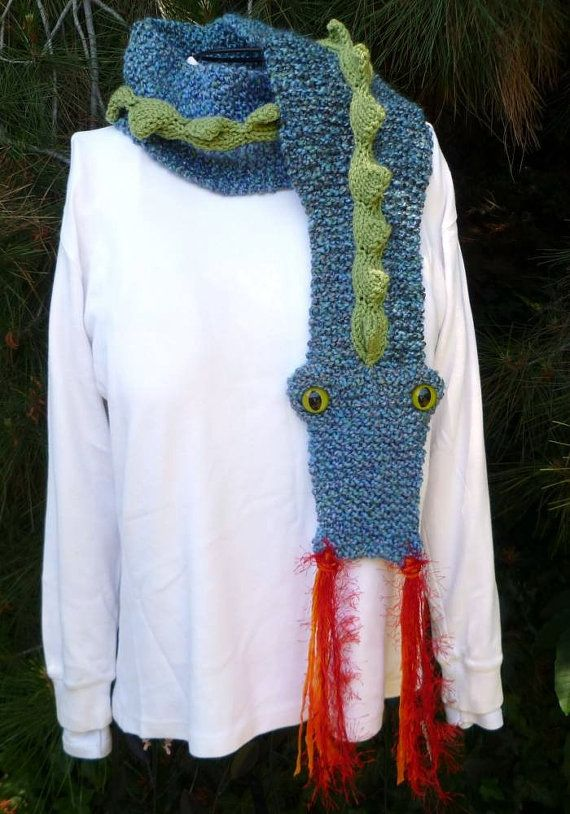 Knitted Dragon Scarf Texting, Boys and Knits