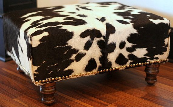 Cowhide Ottoman - Reupholstered Vintage Footstool in Black and White Leather Hide Accented with Brass Upholstery Tacks - Furniture Stool
