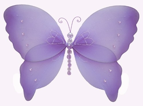 4 Sweet Homes - Hanging Butterfly 13″ Large Purple (Lavender) Crystal Nylon Butterflies Decorations – Decorate for a Baby Nursery Bedroom, Girls Room Ceiling Wall Decor, Wedding Birthday Party, Bridal Baby Shower, Bathroom. Butterfly Decoration 3D Art Craft