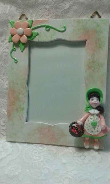 Cornice portafoto dipinta a mano realizzata in porcellana fredda
