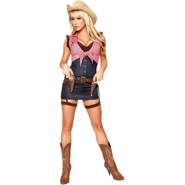 Women's Cowgirl Cutie Deluxe Sexy Costume ($70) ❤ liked on Polyvore featuring costumes, halloween costumes, multicolor, ladies halloween costumes, womens shrugs, womens cowgirl costume, white shrug and sexy womens halloween costumes