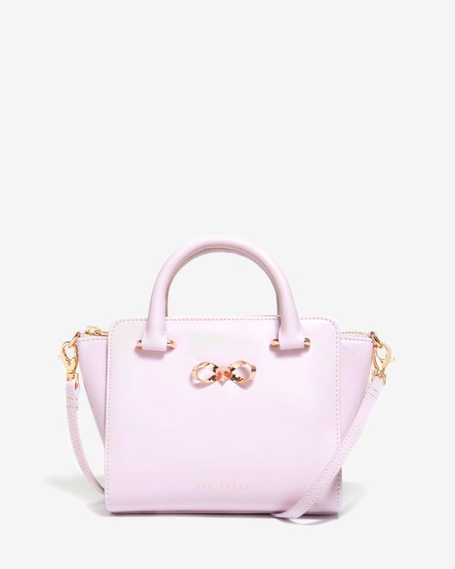 Mini patent leather tote bag - Pale Pink | Accessories | Ted Baker UK