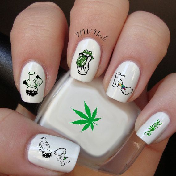 128 best nail art images on pinterest nail decals nail arts and stoner hands day nail decals marijuanapot leaf by nwnailapparel prinsesfo Gallery