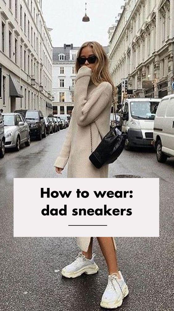 5 manieren om dad sneakers te combineren