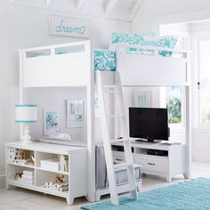 Hampton Loft Set With Cushy & Base, Full, Simply White PBteen $3099 w/loveseat, bookshelf and media console.
