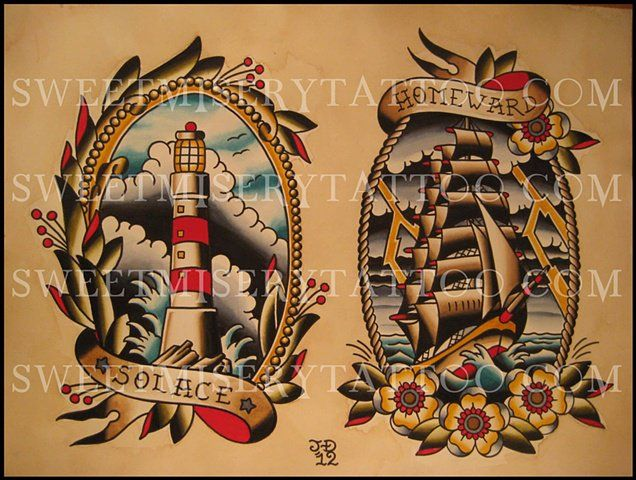 Lighthouse Tattoo Outline | Traditional Lighthouse Flash Ship and lighthouse.