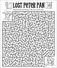 Help Peter Pan find Wendy in this fun printable maze for kids