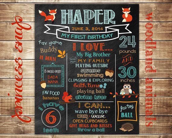 First Birthday Chalkboard - Woodland Animals - Milestone 1st Birthday Poster Sign Birthday Party Printable  - Baby's First Birthday