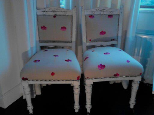 The Emily Twins. Handpainted in Linen White chalk paint and sealed in wax.  Fabric from Casamance.  Slightly distressed and restudded