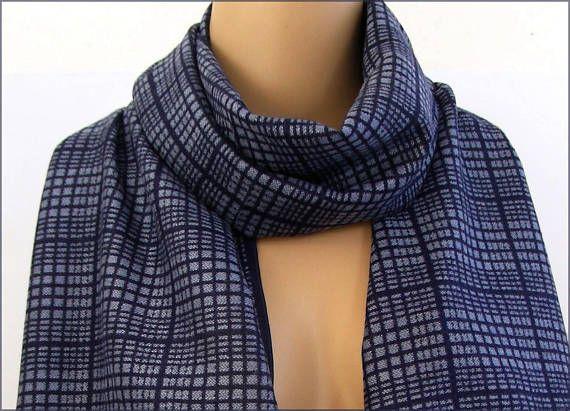 Blue Cashmere man scarf/wrap Écharpe Homme Luxe
