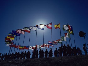 """A """"ring"""" of flags of the world."""