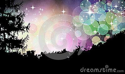 Abstract illustration of moravian forest in magical sky