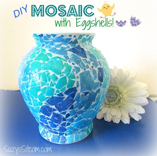 Creating a Mosaic Vase With Eggshells