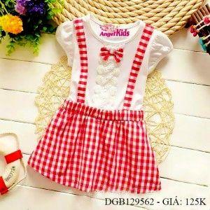 Đầm liền áo thun váy vải ca rô dễ thương cho bé gái 1 - 8 tuổi DGB129560