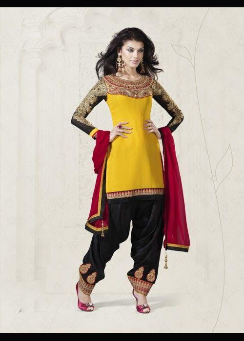 Wedding Wear Patiala Salvar Dress In Bright Yellow . Shop at - http://www.gravity-fashion.com/16847-wedding-wear-patiala-salvar-dress-in-bright-yellow.html