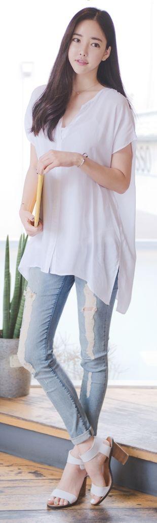Luxe Asian Korean Women Fashion Every moment White Blouse