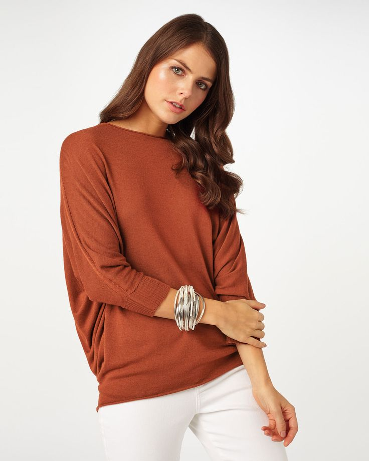 This soft knit from the Phase Eight Italian Collection has batwing sleeves and a relaxed fit.
