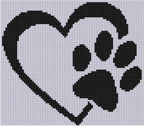 Paw Heart Cross Stitch Pattern von MotherBeeDesigns auf Etsy (Diy Manualidades Pulseras)