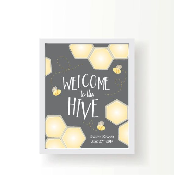 Personalized Nursery Art-8x10-Welcome to the Hive-Yellow • Grey • Custom • Print • Email • Bee • Gift • Poster • Boy • Girl • Welcome