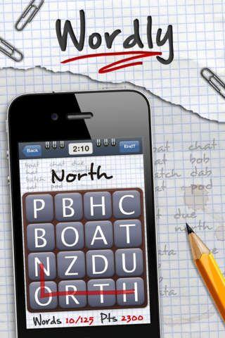 Wordly er gratis og minder om Ruzzle. Du spiller mod dig selv på tid mellem 1 min til 5 min. Du får at vide hvor mange ord, du kan finde og den noterer de ord du laver. Det er en svær wordsearch.