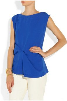 Maison Martin Margiela - asymmetric crepe top. Figure flattering and a  beautiful pop of colour