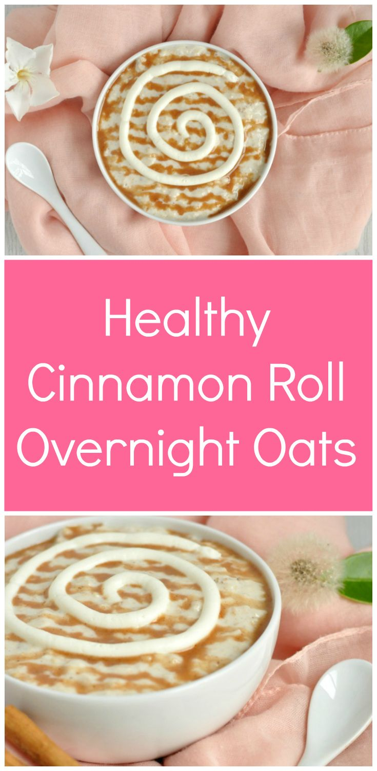 Healthy Cinnamon Roll Overnight Oats Recipe | The best ever healthy breakfast! This healthy oatmeal recipe is gluten free and made with brown sugar and Greek yogurt. It really does taste like a gooey cinnamon roll, but it just takes 5 minutes to make and really is a healthy breakfast. via @happyhealthymot