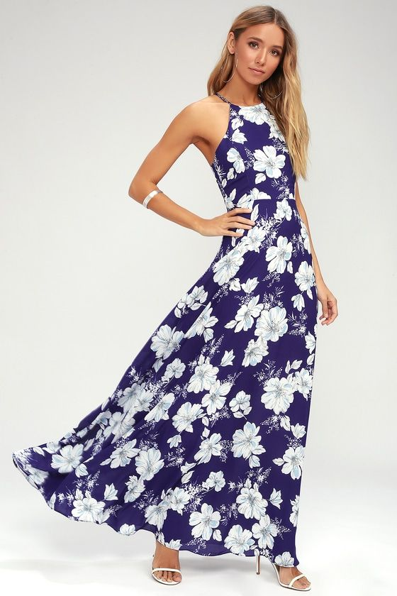 b07baa1e924f Make your tropical dreams a reality in the Valley Isle Royal Blue Floral  Print Maxi Dress! A high