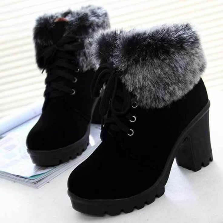 Women Winter Ankle Boots Lace Up High Heel Classic…