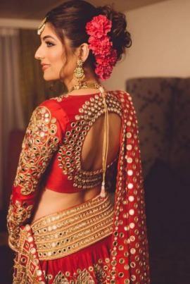 Wedding Color Red - Red Bridal Lehenga | WedMeGood  My My! Red & Gold Lehenga with Glass Work.  #wedmegood #lehenga #wmgred #red