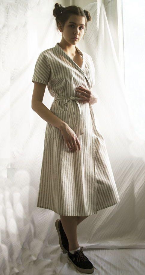Платье кимоно в бежевую полоску