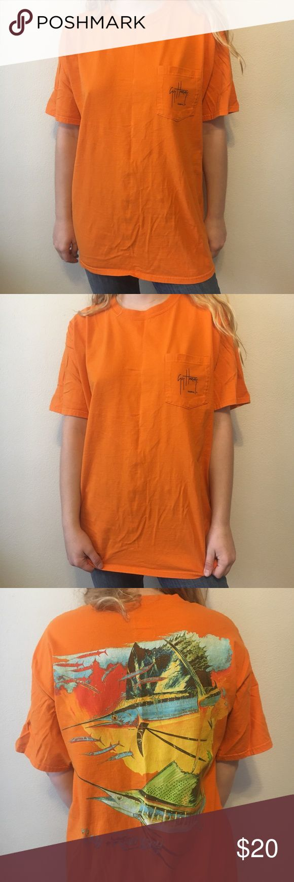 Guy Harvey orange graphic Tee large Guy Harvey orange graphic Tee in good condition. Unisex. Great for the fisherman. Vibrant colors guy harvey Shirts Tees - Short Sleeve