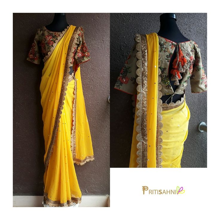This Sunshine Saree.Be the sunshine in the lives of your near and dear ones. Yellow georgette Saree with organza floral printed blouse with hand work highlights For more information Whatsapp on +91-9022617481. 21 June 2017