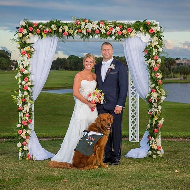 """""""Man's best friend"""" becomes man's """"Best Man"""" ❤️ This U.S. Army veteran chose his beloved service dog to be the best man at his wedding. Congratulations and thank you for your service! (Credit: Brad Hall Studios)"""